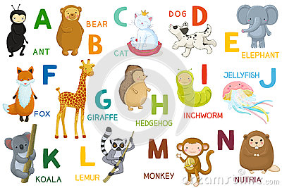 Animals ABC, letter A-N. Cartoon characters, animals and alphabet ...