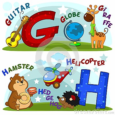 The letters g and h Vector Illustration