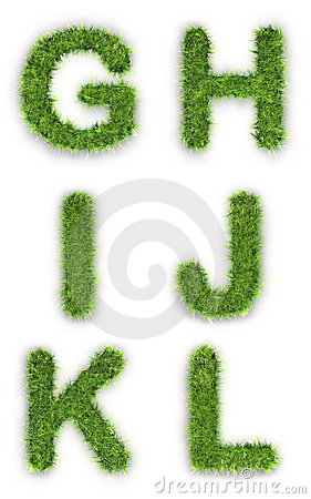 Letters g,h,i,j,k,l made of grass