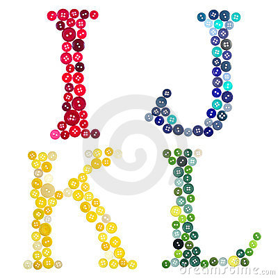 Letters I, J, K and L made of  buttons