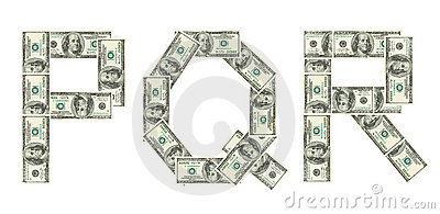 Letters P, Q, R made of dollars