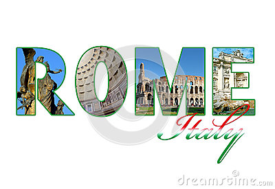 Letters with photos of Rome city