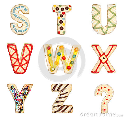 Free Letters S To Z From Decorated Cookies Stock Photography - 27216792
