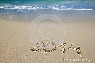 2014 letters on sand, ocean , beach and seascape