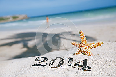 2014 letters with starfish, ocean , beach and seascape