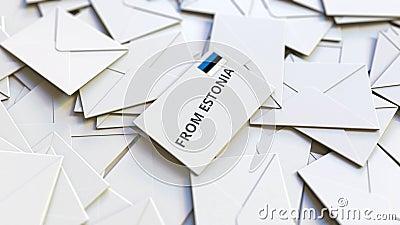Lettre de l'Estonie texte sur pile d'autres lettres Animation 3D conceptuelle liée au courrier international banque de vidéos