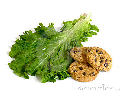 Lettuce or cookies and diet or dessert isolated