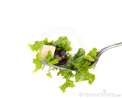 Lettuce on a fork isolated