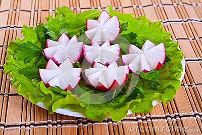 Lettuce and radish in form flowers.