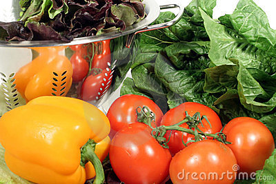 Lettuce, Tomatoes, Pepper and Colander
