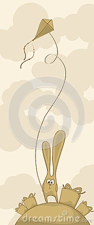 Leuk konijntje met een vlieger