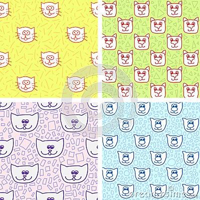 Leuk naadloos patroon vier met kattengezichten vector illustratie afbeelding 59371809 - Behang patroon voor de slaapkamer ...