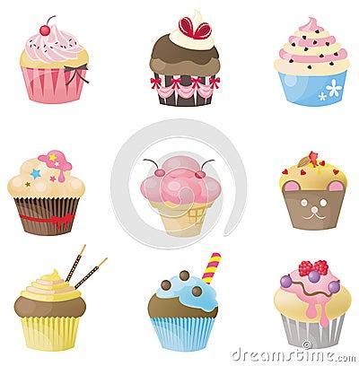 Leuke cupcake met verschillende 9 ziet eruit