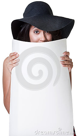 Leuke Dame Hiding achter Affiche