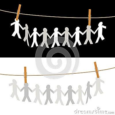 Leute auf Seil