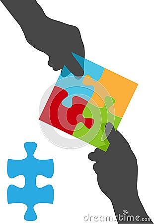 Leute übergeben Teamzusammenarbeits-Puzzlespiellösung
