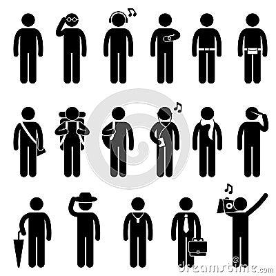 Leute-Mann-männliches Art- und Weiseabnutzungs-Auslegung-Piktogramm