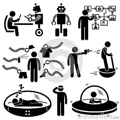 Leute-zukünftige Roboter-Technologie-Piktogramme