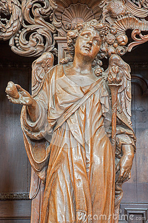 Leuven - Carved angel as symbol of virtuousness of love form St. Michaels church (Michelskerk)