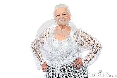 Levendige oude dame