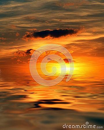 Lever de soleil à l océan