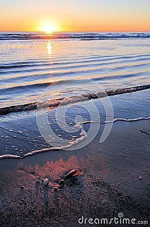 Lever de soleil au-dessus d océan calme