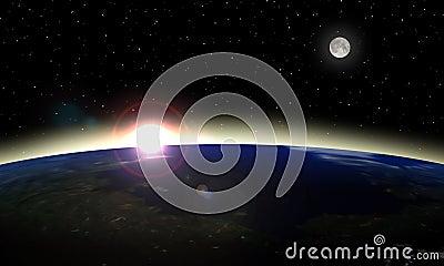 Lever de soleil de l espace