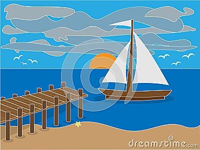 Lever de soleil près de dock sur la plage
