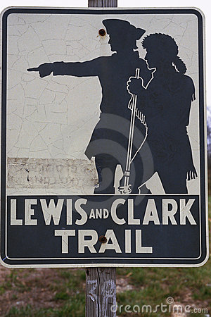 Lewis and Clark Trail sign Editorial Stock Photo