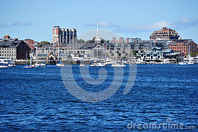 Lewis Wharf and Commercial Wharf Editorial Stock Photo