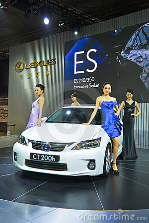 Lexus CT200h and model Editorial Stock Image