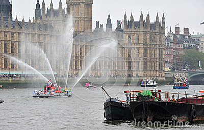 LFire boat jets Diamond Jubilee Editorial Image