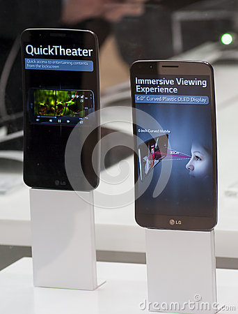 LG FLEX, MOBILE WORLD CONGRESS 2014 Editorial Stock Image