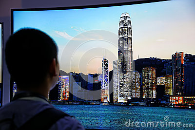 LG 4K Curved OLED Display CES 2014 Editorial Stock Image