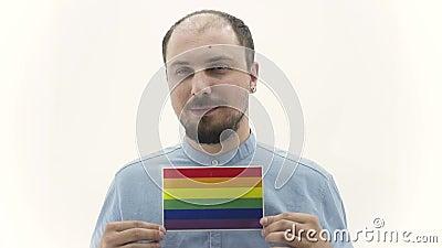 Lgbt гея человека показывает выражения лица акции видеоматериалы