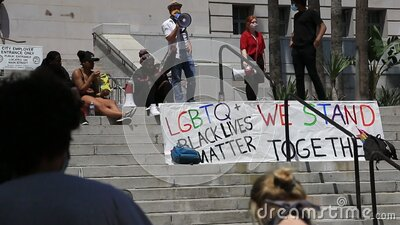 LGBTQ protest sign stock video footage