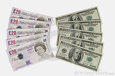 Libbre britanniche e dollari Immagine Editoriale