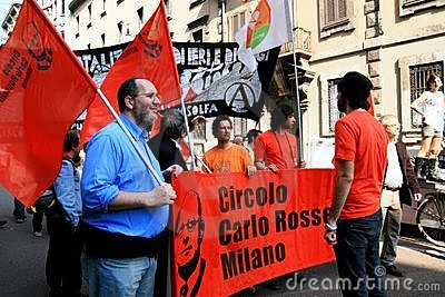Liberation Day political protest. Milan, Italy Editorial Stock Photo