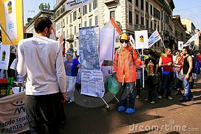 Liberation Day political protest. Milan, Italy Editorial Photography
