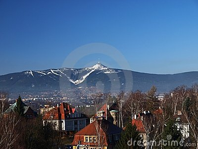 Liberec with Jested mountain (Czech)