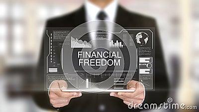 Liberté financière, interface futuriste d'hologramme, réalité virtuelle augmentée clips vidéos
