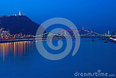 Liberty Bridge at the Blue Hour Editorial Stock Image