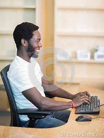 Librarian Working On Computer At Library Desk