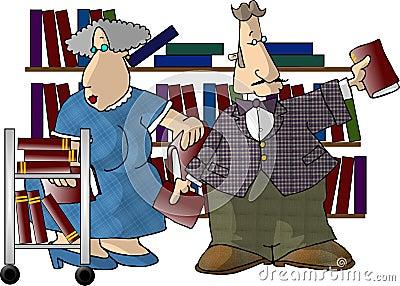 Librarians Cartoon Illustration