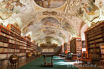 Library, Ancient books in Stragov monastery Editorial Stock Image