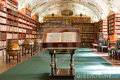 Library, Ancient books in Stragov monastery Editorial Photography