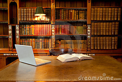 Library, computer and desk