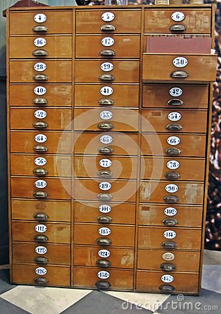 Library File Cabinet with Old Wood Card Drawers