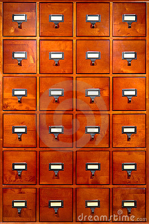 Free Library File Cabinet With Old Wood Card Drawers Stock Photography - 10652122