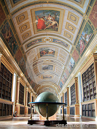 Library of Fontainebleau palace. Editorial Stock Image